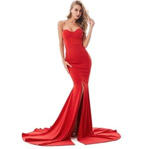 Red Strapless Flow Gown